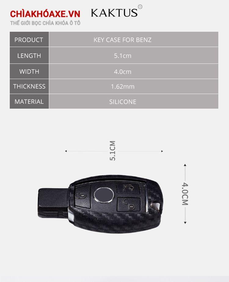 Bọc chìa Mercedes vỏ carbon dòng C E S GLK CLA CLS