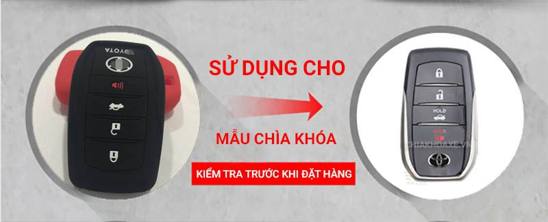 Bọc silicon chìa Toyota Fortuner RAV4 Highlander Crown Mark X Land Cruiser
