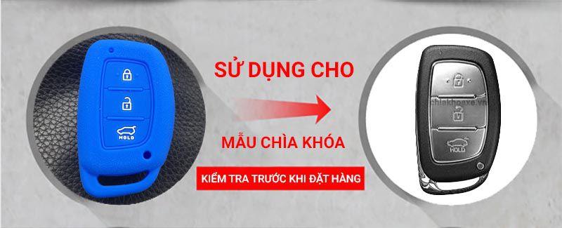 Vỏ chìa Hyundai Tuscon IX35 Mistra Santa Fe Sonata silicon 3 nút